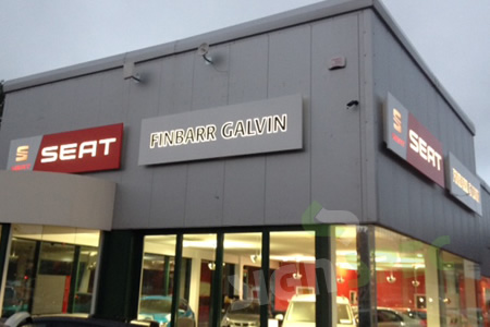 Interior exterior illuminated backlit signage for Garage seat 78